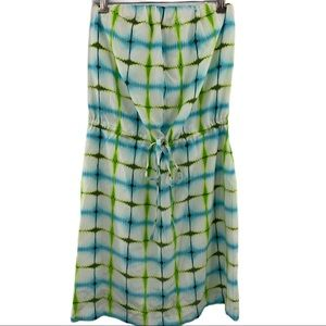 Michael Stars green blue silk tie dye dress small
